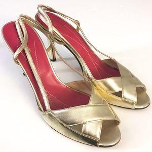 Kate Spade Gold Metallic Sling Back Heels